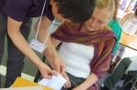 having a shibori lesson withShoji